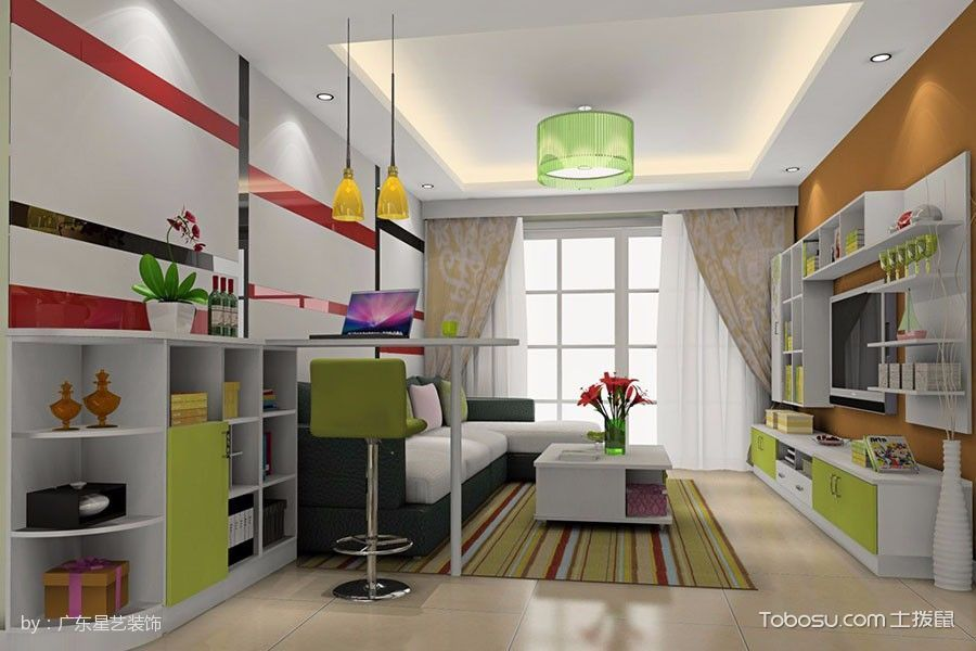 客厅白色吧台简约风格装潢图片