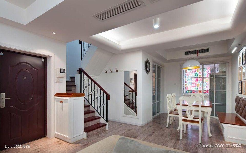 餐厅 楼梯_清新风简欧复式楼装修案例实景图