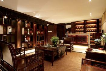 客厅红色博古架新中式风格效果图