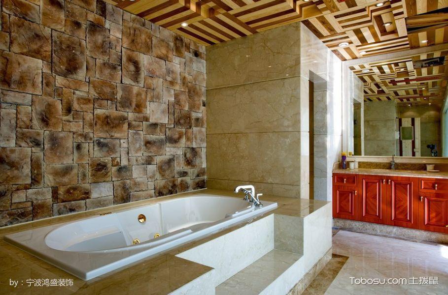 卫生间黄色浴缸混搭风格装潢设计图片