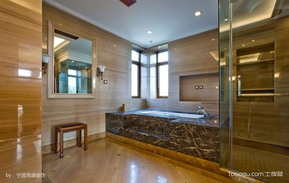 卫生间黄色地砖混搭风格装修效果图