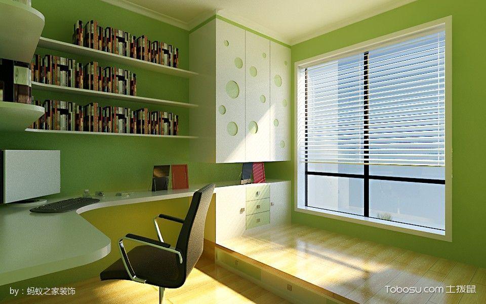 书房绿色榻榻米田园风格装潢设计图片