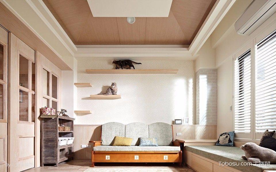 客厅绿色榻榻米简约风格装潢效果图