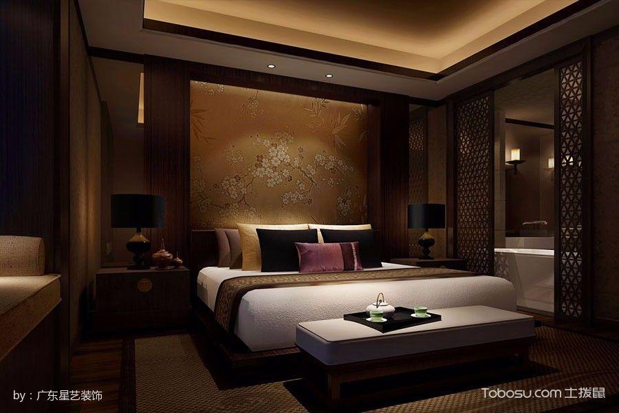 卧室咖啡色床头柜新中式风格效果图