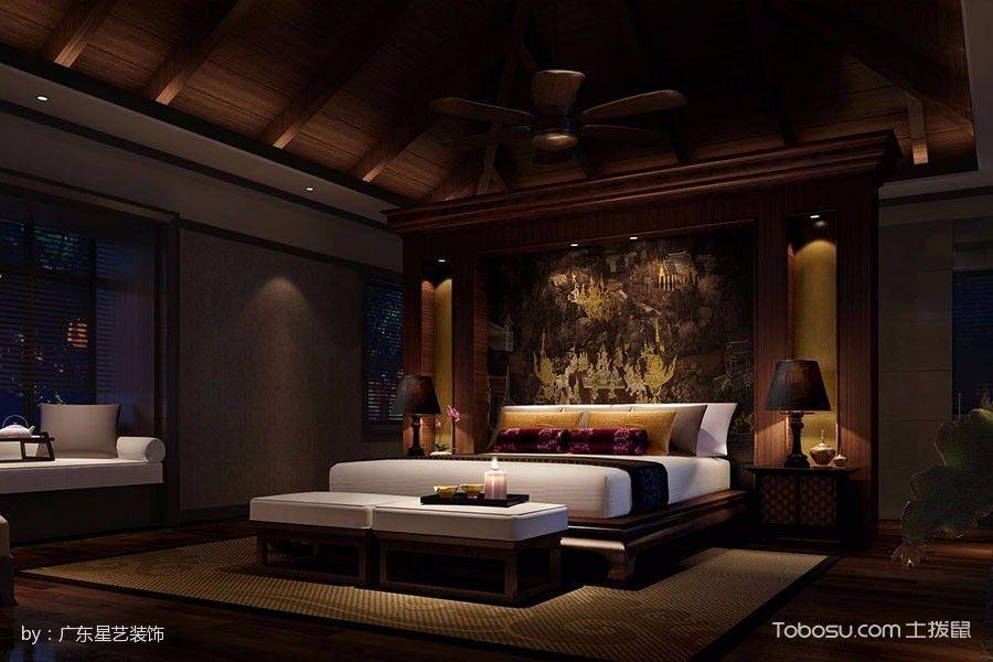 卧室咖啡色吊顶新中式风格装饰效果图