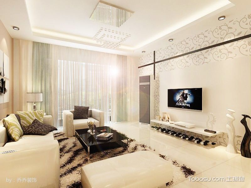 简约风格家庭两室一厅装修案例效果图