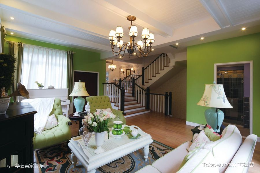 客厅 楼梯_魅力家居欧式田园风格复式楼装修案例图