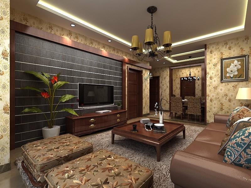 3室2卫2厅100平米中式风格