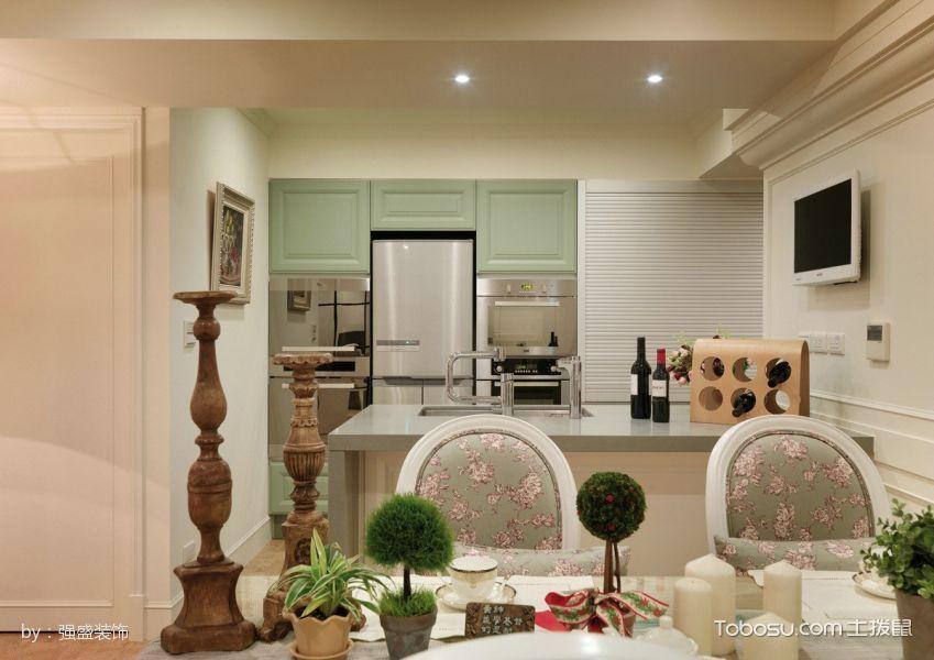 厨房白色吧台简欧风格装饰设计图片