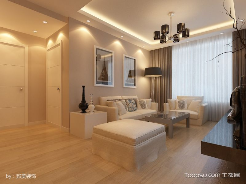 客厅黄色门厅现代简约风格装潢效果图