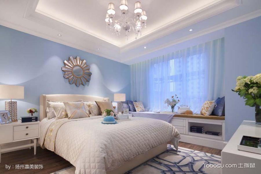 卧室蓝色飘窗法式风格效果图