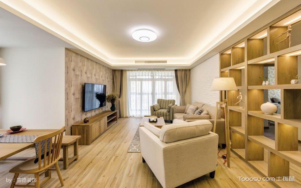 客厅黄色博古架现代风格装修效果图