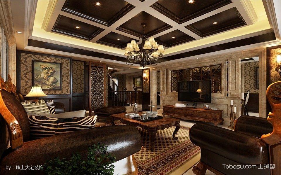 客厅咖啡色电视柜美式风格装潢设计图片
