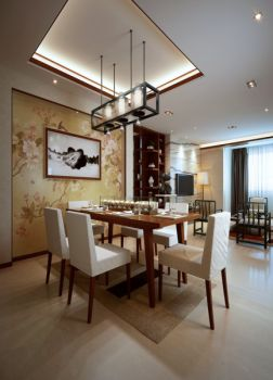金茂梅溪湖现代中式三居装修图片