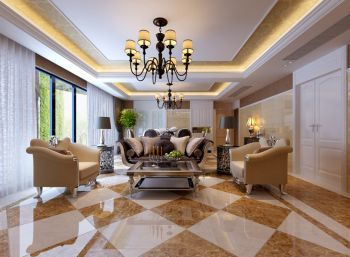 国际花都玫瑰园跃层家居现代欧式风格装修效果图