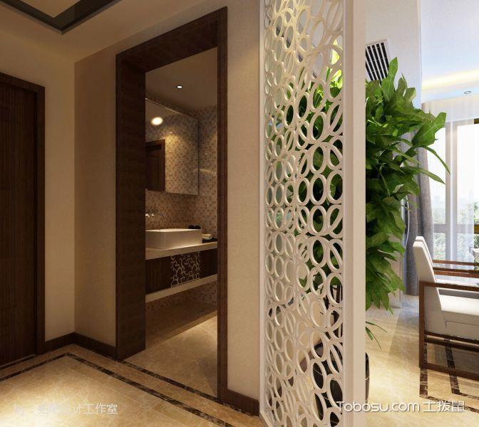 玄关白色隔断混搭风格装饰设计图片