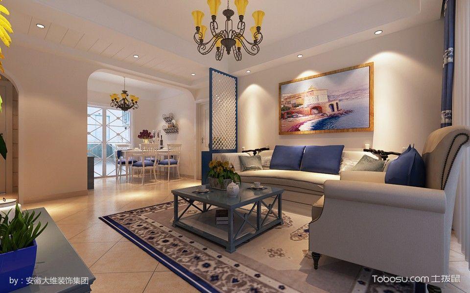 客厅白色隔断地中海风格效果图
