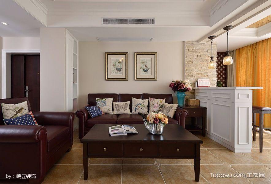 客厅白色吧台美式风格装潢效果图