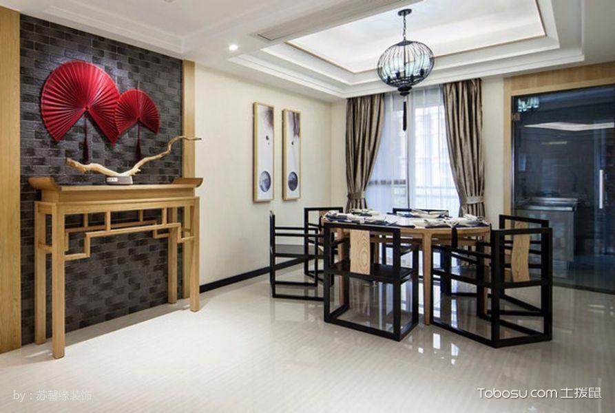 餐厅黑色灯具新中式风格装潢效果图