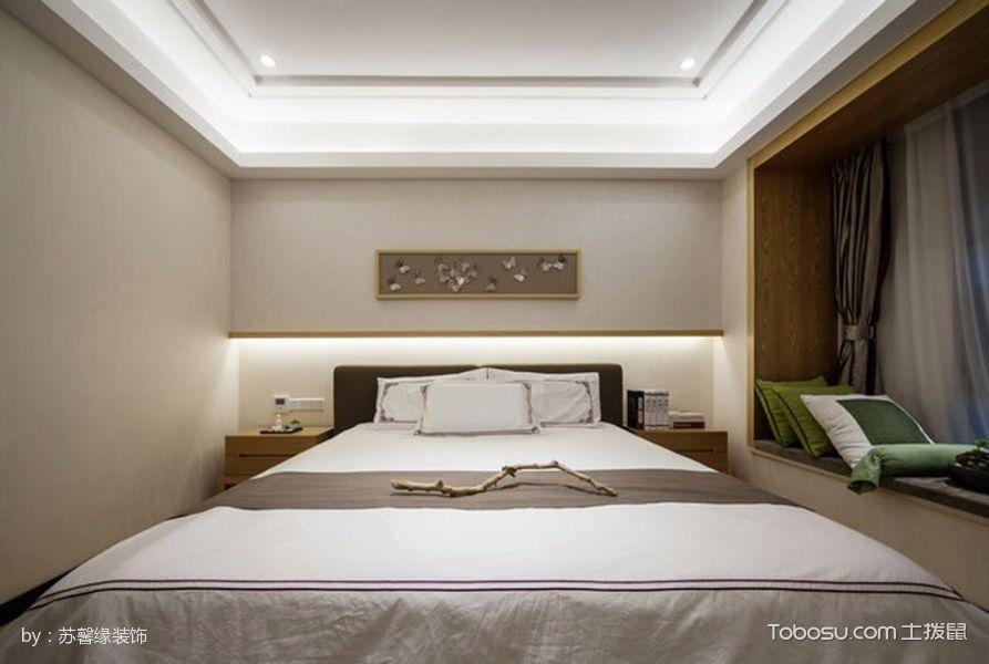 卧室黄色飘窗新中式风格装饰图片