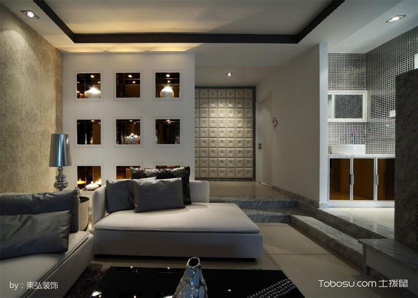 客厅白色博古架现代风格装潢效果图