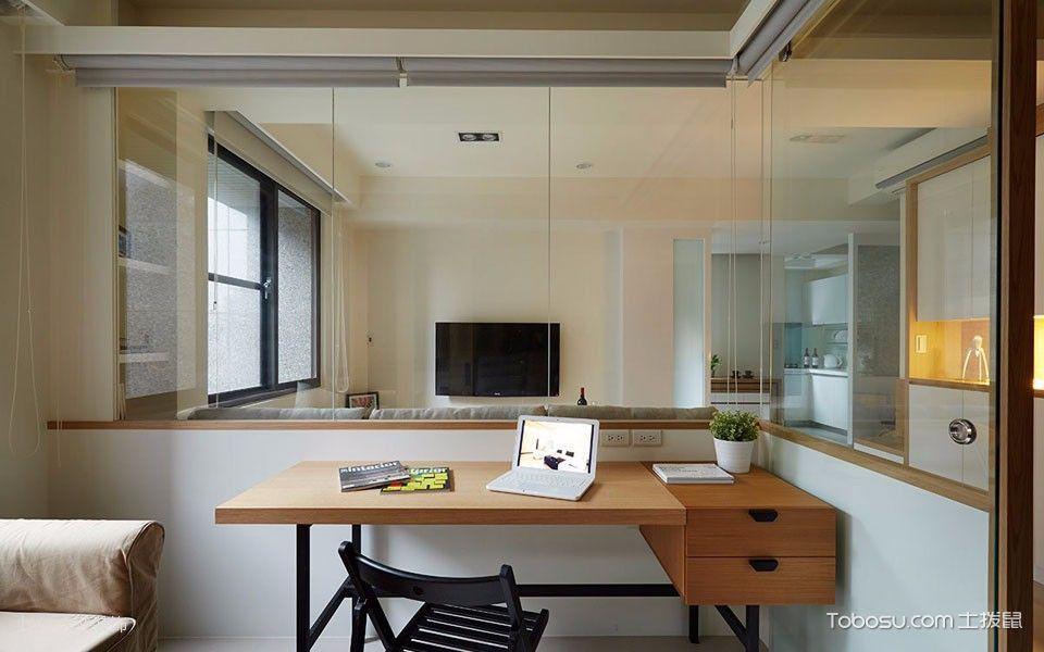 书房咖啡色书桌现代风格装修效果图