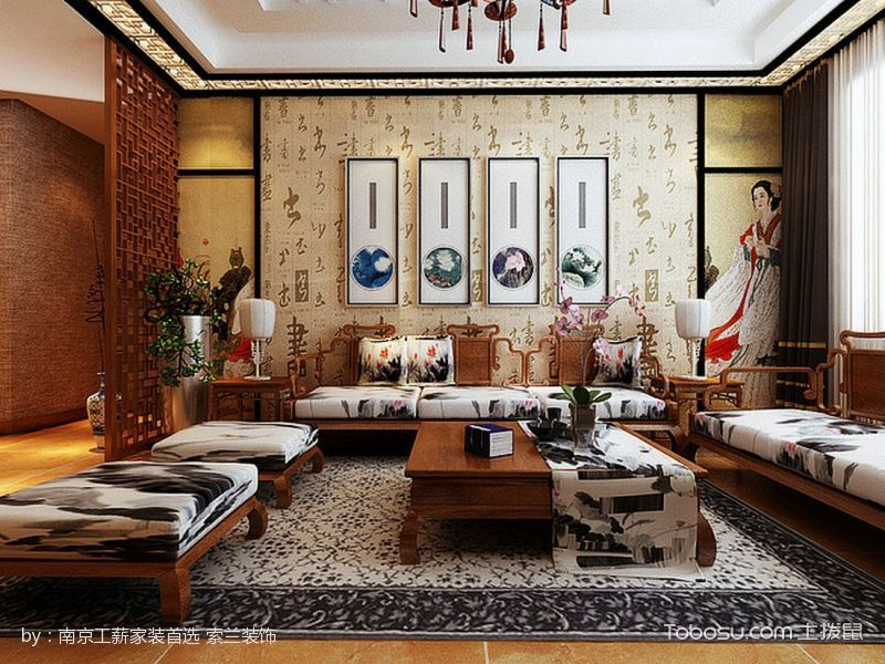 客厅 背景墙_中式风格家庭两居装修效果图案例