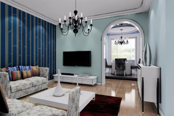 东方蓝海蓝光120平地中海风格三居室装修效果图
