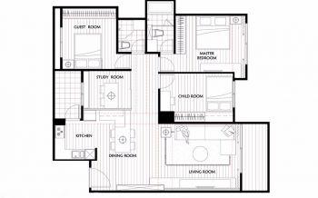 96平三房户型简约风装修效果图