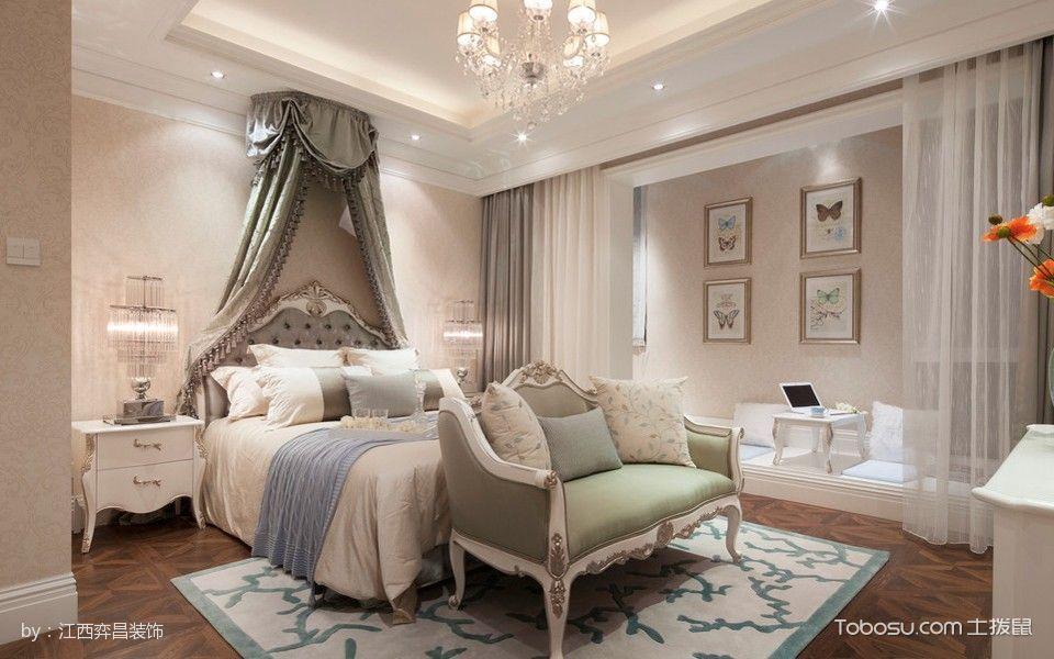 卧室白色榻榻米简欧风格装修图片