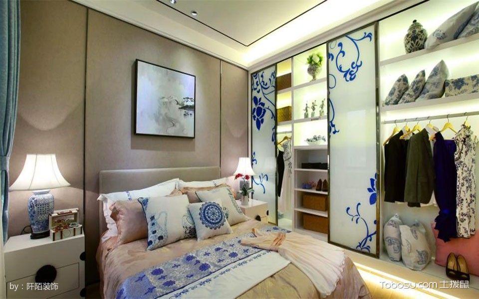 卧室灰色床新中式风格装饰设计图片