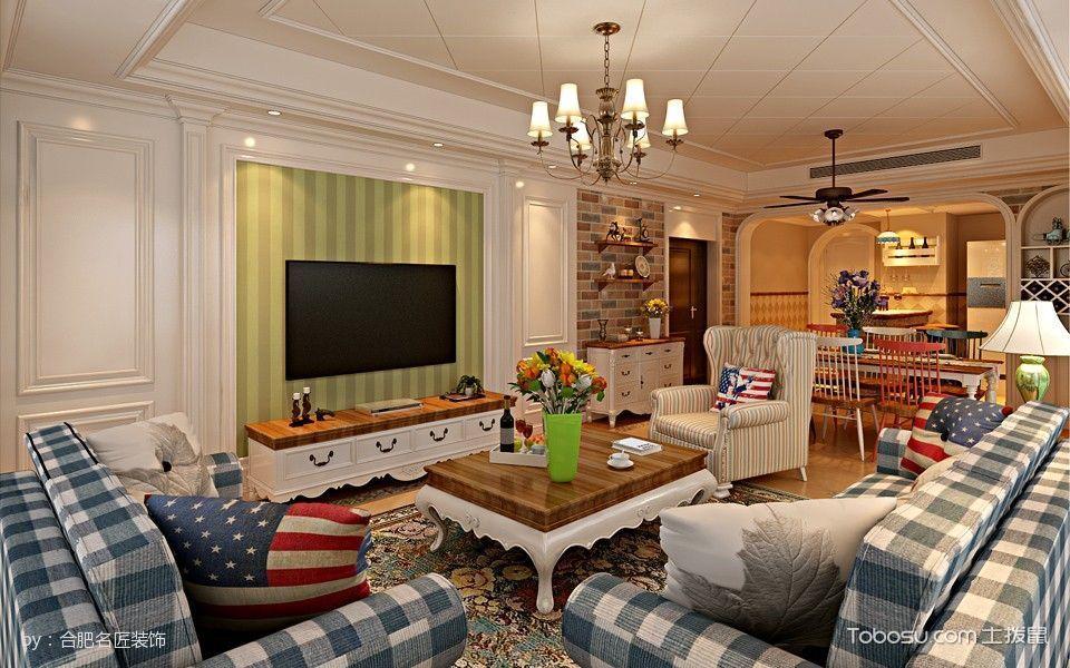 柏悦公馆四室两厅户型美式田园风格装修效果图