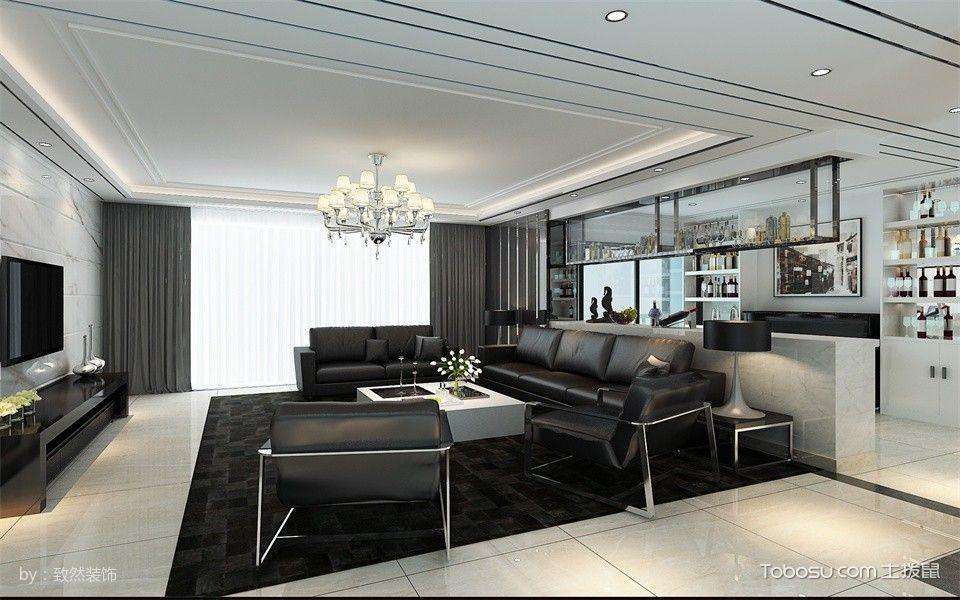 粤海丽江花园现代风黑白大户型家装效果图