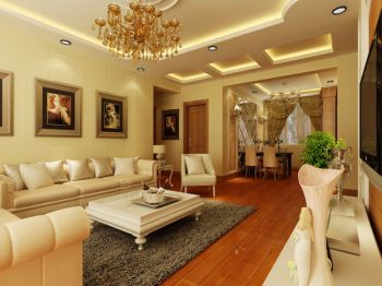 120平欧式三居室装修效果图