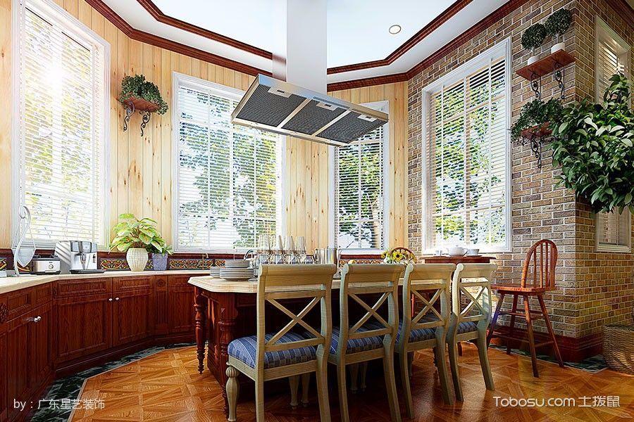 厨房咖啡色橱柜田园风格装潢图片
