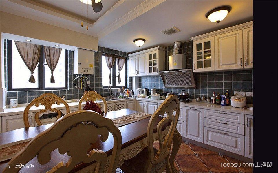 厨房白色橱柜现代欧式风格装潢图片