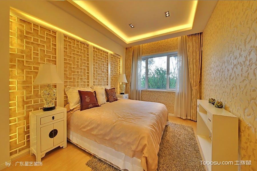 卧室白色床头柜新中式风格装修设计图片