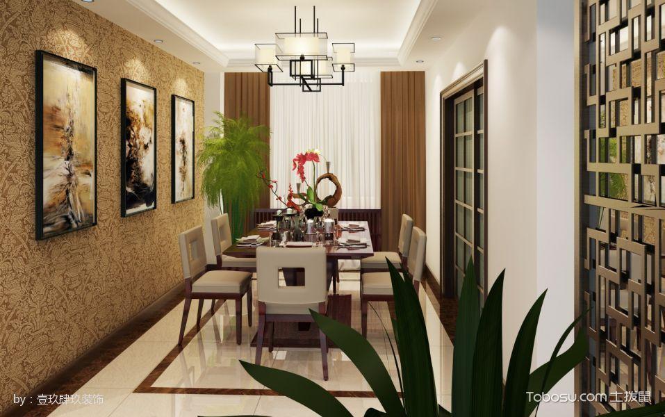 餐厅黄色照片墙中式风格装潢设计图片
