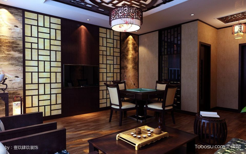 肥西卓越茶楼棋牌室背景墙装潢图片