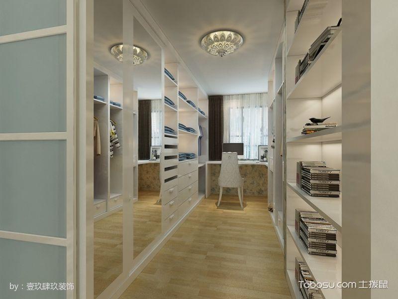 衣帽间白色衣柜美式风格装饰设计图片