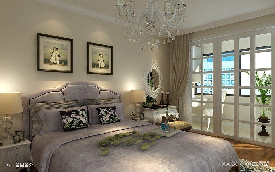 卧室白色推拉门混搭风格装潢图片