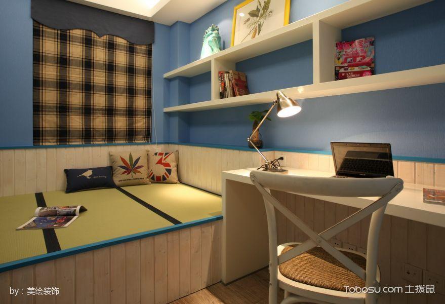 儿童房蓝色榻榻米美式风格装修效果图