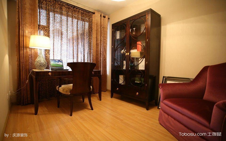 书房咖啡色窗帘古典风格装饰效果图