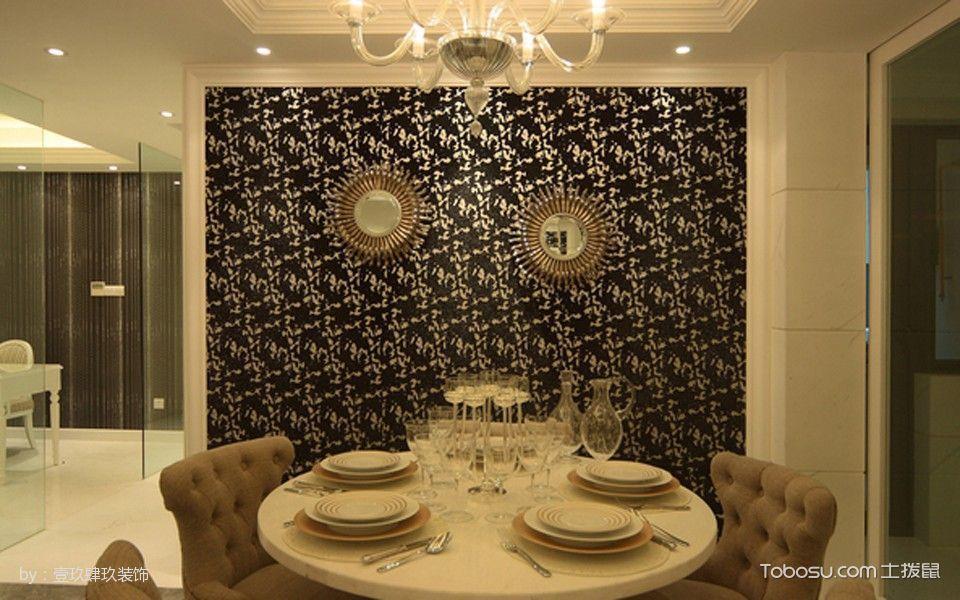 餐厅黑色背景墙古典风格装修图片