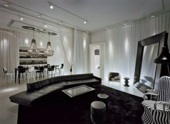 经典黑白配色三居室装修图片