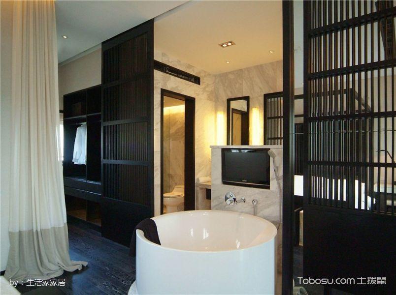 卫生间黑色隔断混搭风格装潢效果图