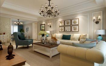 天下锦城三室两厅简约美式风格装修效果图