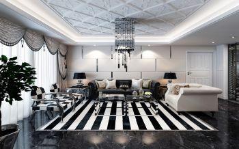 金穗花园简约式黑白经典三居室装修效果图