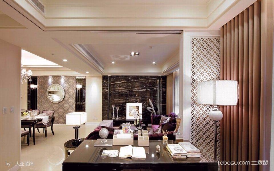 书房咖啡色窗帘古典风格装潢效果图