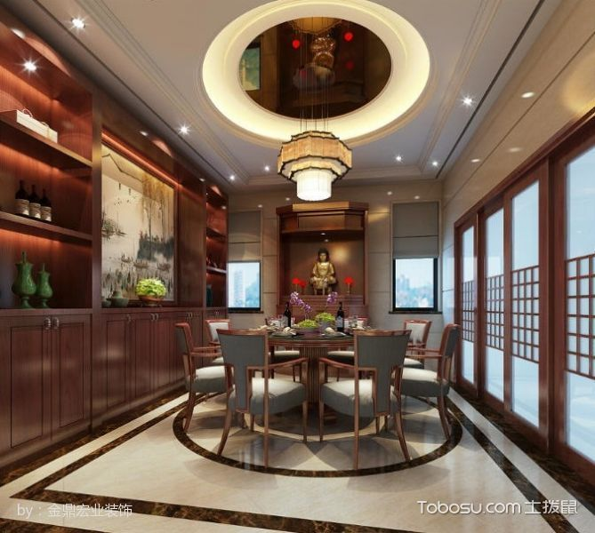 餐厅咖啡色博古架新中式风格装饰效果图